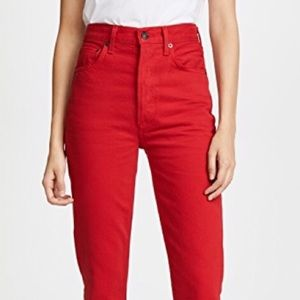 AGOLDE Riley high rise cropped denim in red